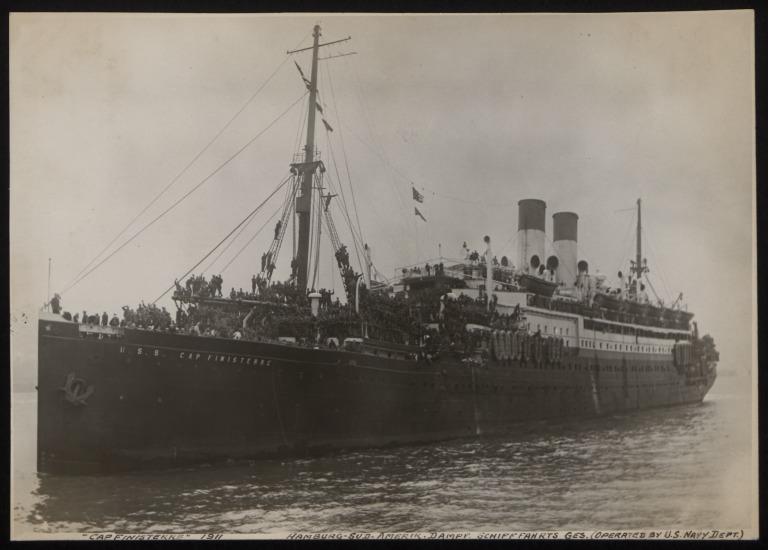 Photograph of Cap Finisterre (r/n Taiyo Maru), Hamburg Sudamerika Line card