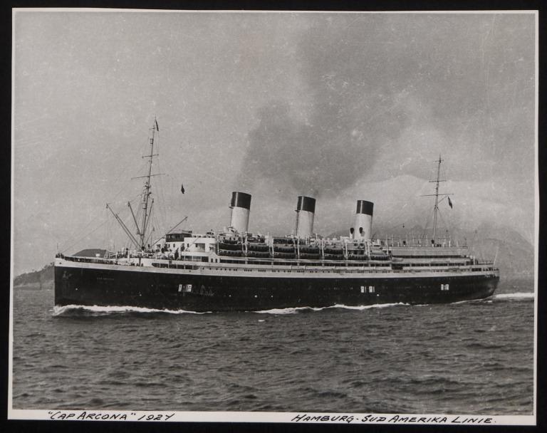 Photograph of Cap Arcona, Hamburg Sudamerika Line card