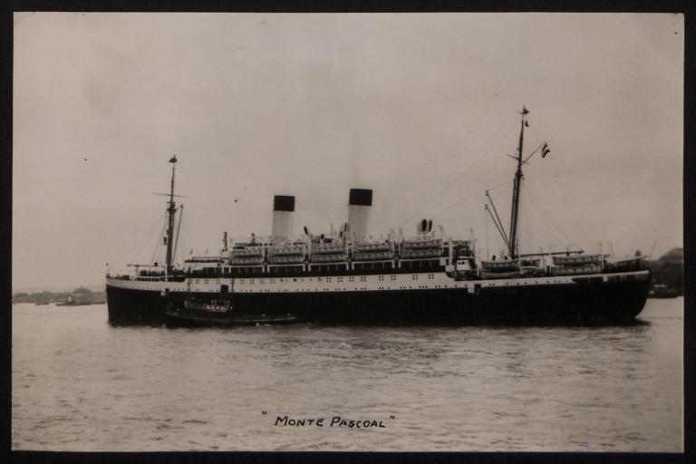 Photograph of Monte Pascoal, Hamburg Sudamerika Line card