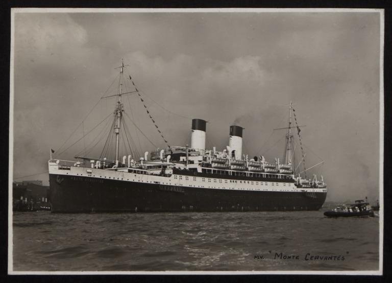 Photograph of Monte Cervantes, Hamburg Sudamerika Line card