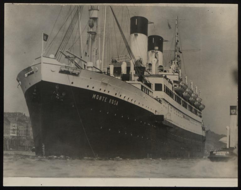 Photograph of Monte Rosa (r/n Empire Windrush), Hamburg Sudamerika Line card