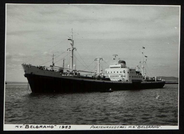 Photograph of Belgrano (r/n Santa Barbara, Harambee), Rudolph A Oetker card