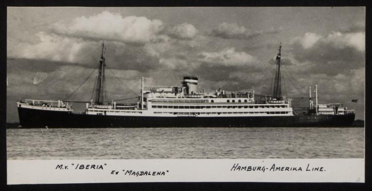 Photograph of Iberia (ex Magdalana, r/n Pobada), Hamburg Amerika Line card