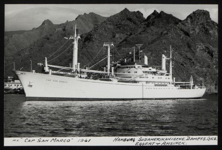 Photograph of Cap San Marco, Hamburg Sudamerika Line card