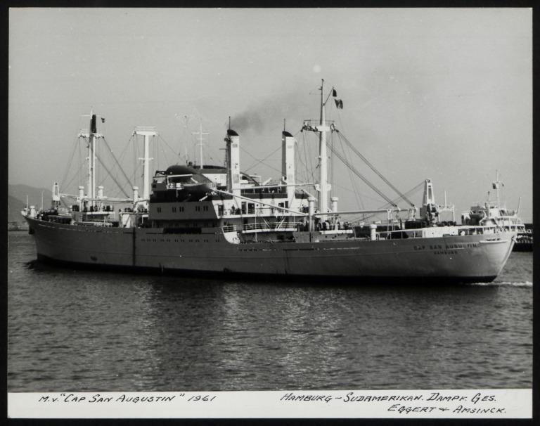 Photograph of Cap San Augustin, Hamburg Sudamerika Line card