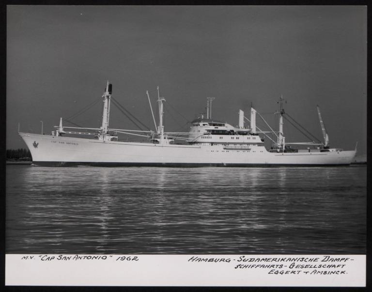 Photograph of Cap San Antonio, Hamburg Sudamerika Line card
