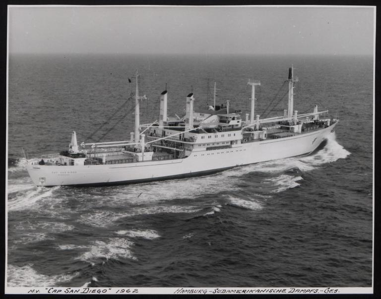 Photograph of Cap San Diego, Hamburg Sudamerika Line card