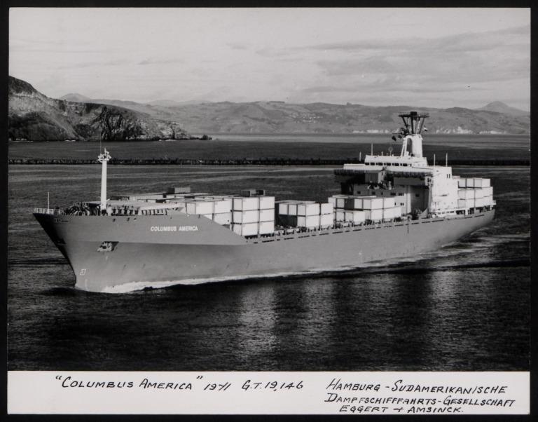 Photograph of Columbus America, Hamburg Sudamerika Line card