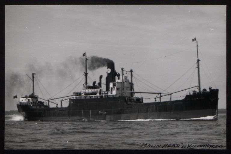 Photograph of Malin Head (ex William Howland), Ulster Steamship Company card