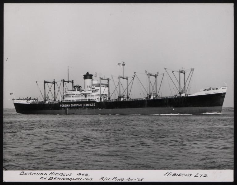 Photograph of Bermuda Hibiscus (ex Beaverglen, r/n Ping An), Persian Shipping Services card