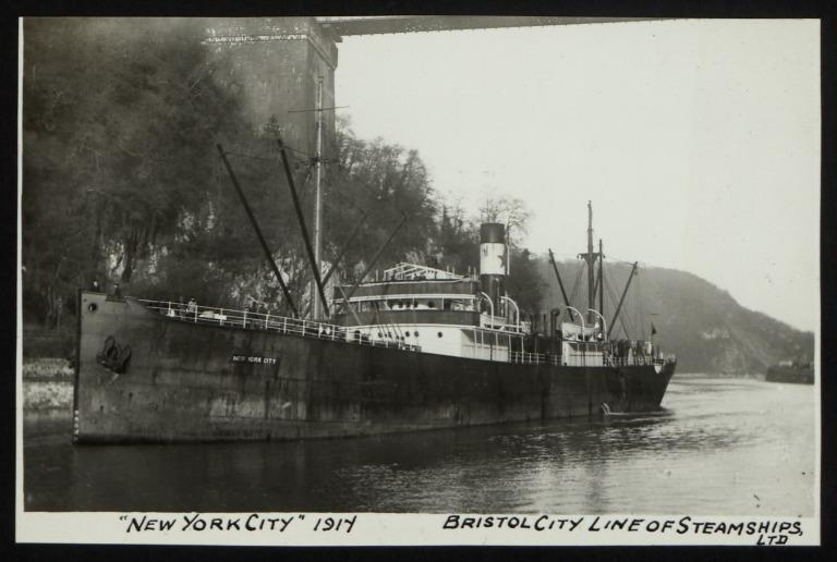 Photograph of New York City, Bristol City Line card