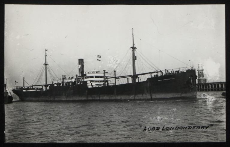 Photograph of Lord Londonderry, Ulster Steamship Company card