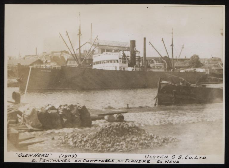 Photograph of Glen Head (ex Penthames), Ulster Steamship Company card