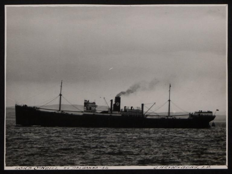 Photograph of Lord O'Neill (ex Dalhanna), Ulster Steamship Company card