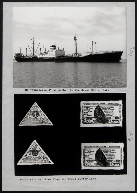 Photograph of Photograph of Stamps entitled 'Philatelic Rarities from the Great Bitter Lake' card