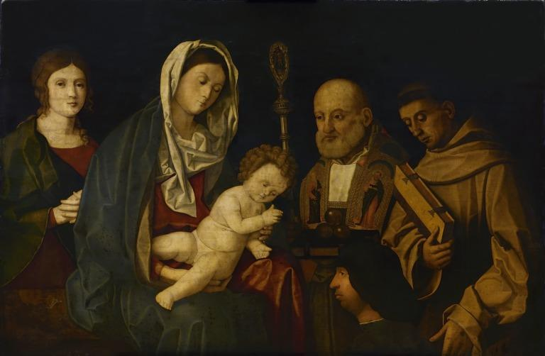 Madonna and Child with Saints Catherine, Nicholas and Francis card
