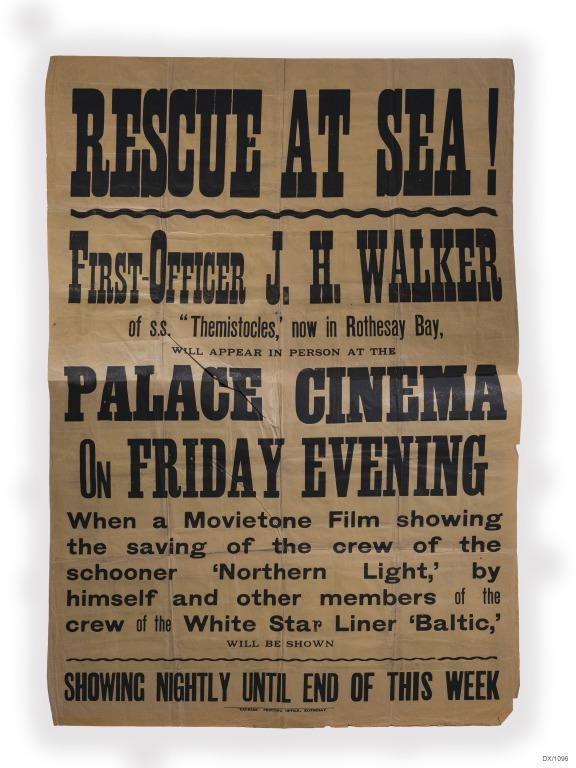 Papers re James Holland Walker 3rd officer, SS Baltic and rescue of crew from schooner Northern Light from mid Atlantic, 1929. card