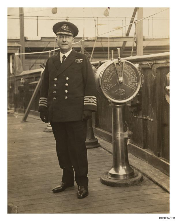 Photograph of Commander Turnbull on board the Empress of Scotland. card