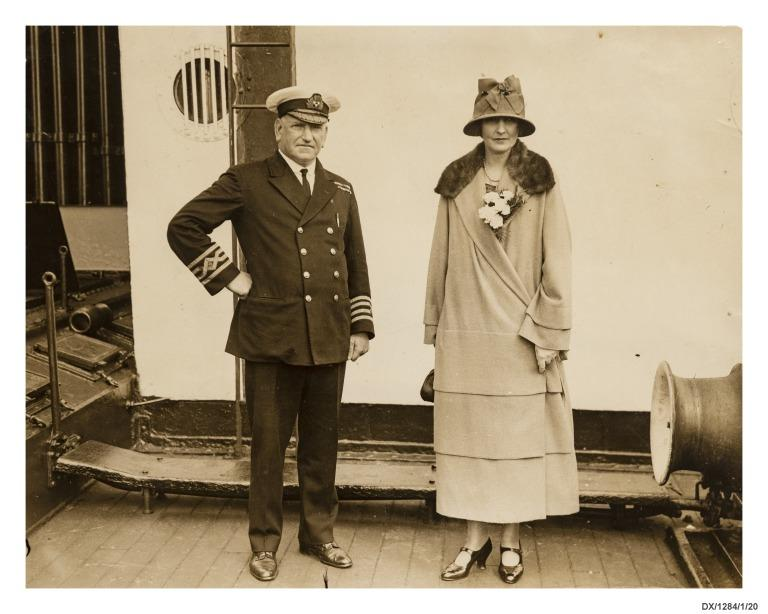 Photograph of Commander Gillies with passenger, Lady Patricia Ramsey, on board the Empress of Scotland. card