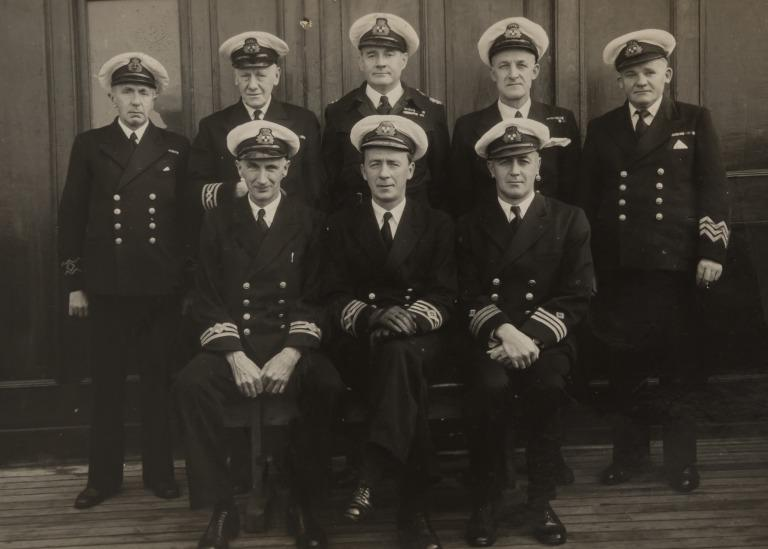 Photographs of Captain Shergold with Captain Phillips and with ship's officers. card
