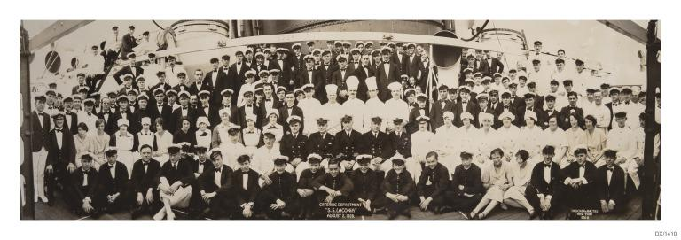 Photograph of the catering department of Laconia, Cunard Line, 2 Aug 1928. card