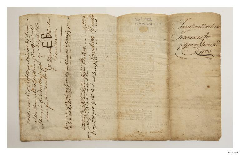 Indenture of Jonathan Barlow for apprenticeship on ship William and Mary, 1735. card