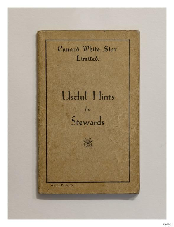 Useful Hints for Stewards, Cunard White Star Line. card