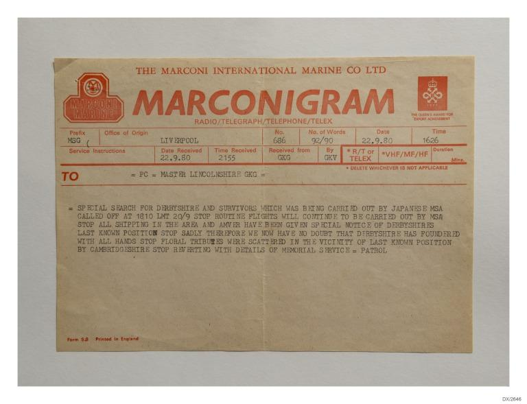 Marconi Telegram forms with messages sent by Bibby Line after loss of Derbyshire, 1980 card