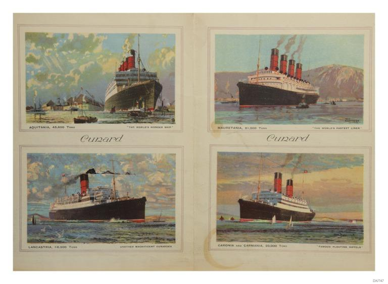 Illustrations of various Cunard vessels. card