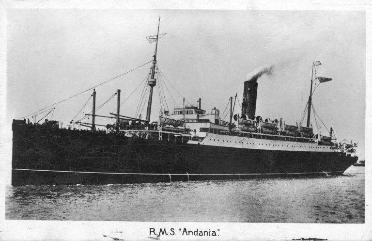 Postcard of RMS Andania II, Cunard. card