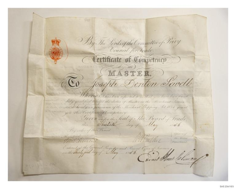 Certificate of competency as master, Joseph Penton Sewell card