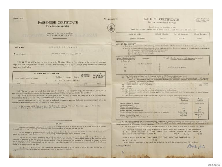 Passenger and safety certificate for Empress of France, Canadian Pacific. card