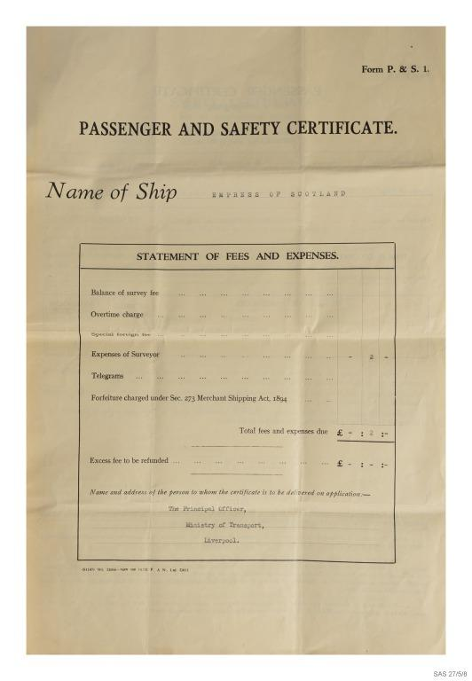 Passenger and safety certificate for Empress of Scotland, Canadian Pacific. card