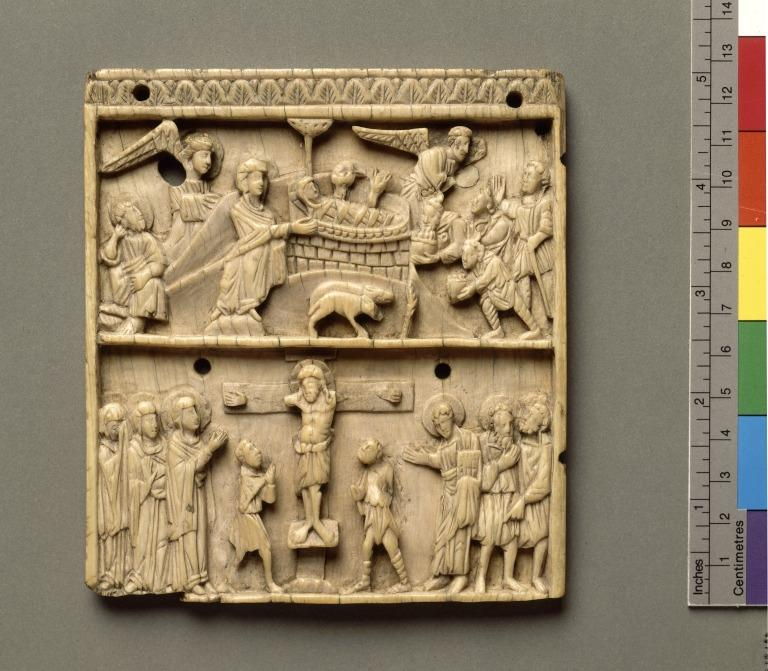 Carved panel showing Nativity and Crucifixion card