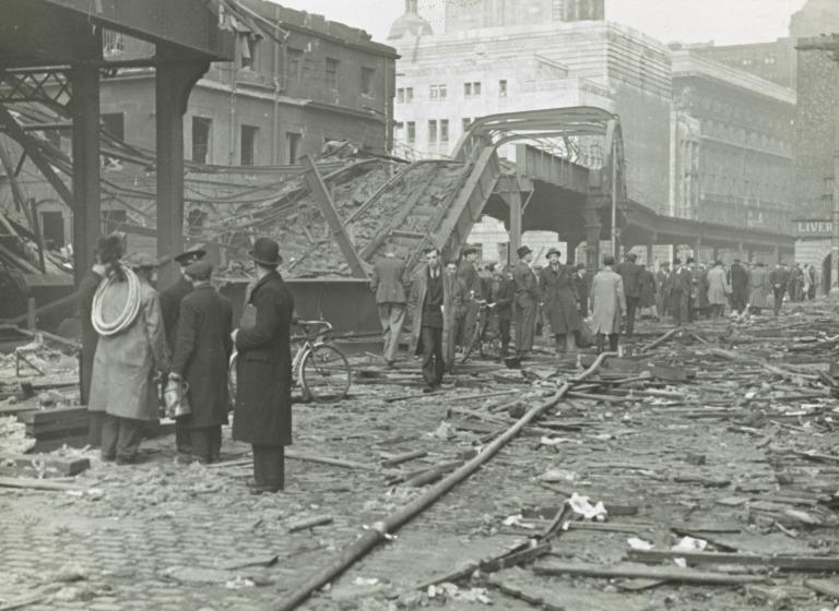 Bomb damage at James Street card