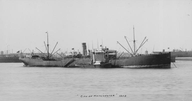Photograph of City of Manchester III, Ellerman Line card