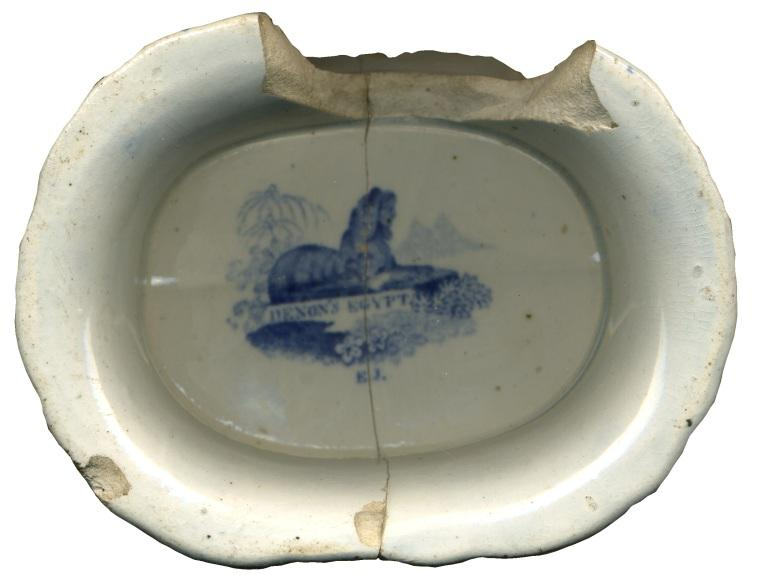 Pottery; Transfer-printed earthenware; Blue card