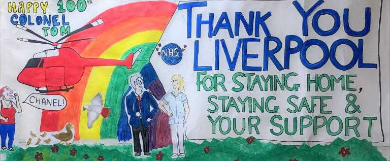 Covid-19 Aintree Hospital thank you banner card