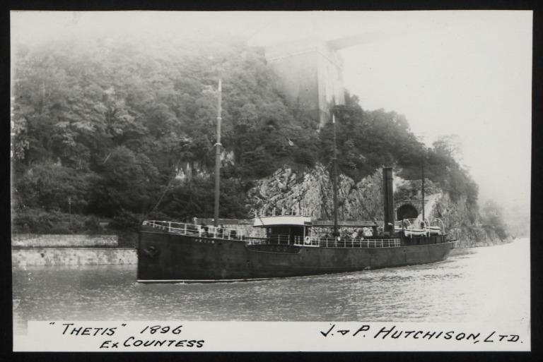 Photograph of Thetis (ex Countess), J P Hutchison card