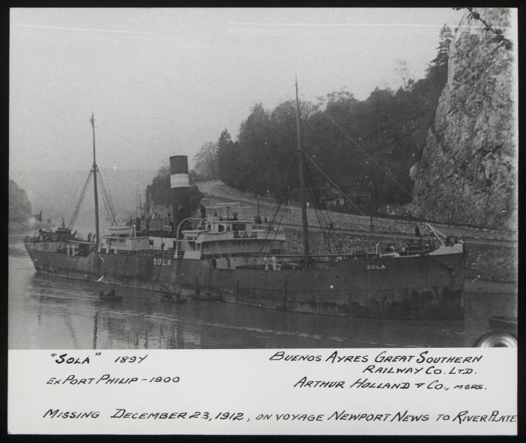 Photograph of Sola (ex Port Philip), A Holland and Co card