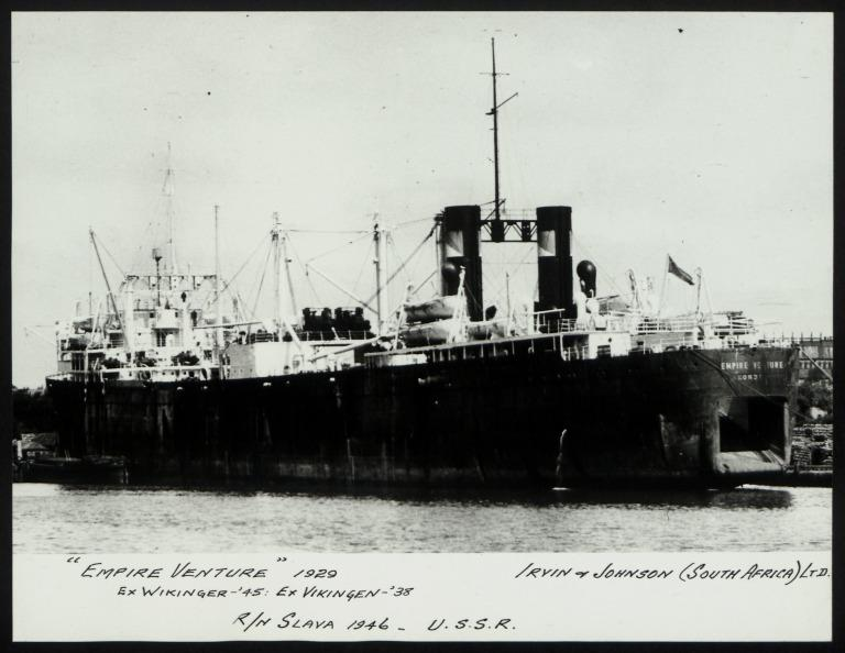 Photograph of Empire Venture (ex Wikinger), Irvin and Johnson card