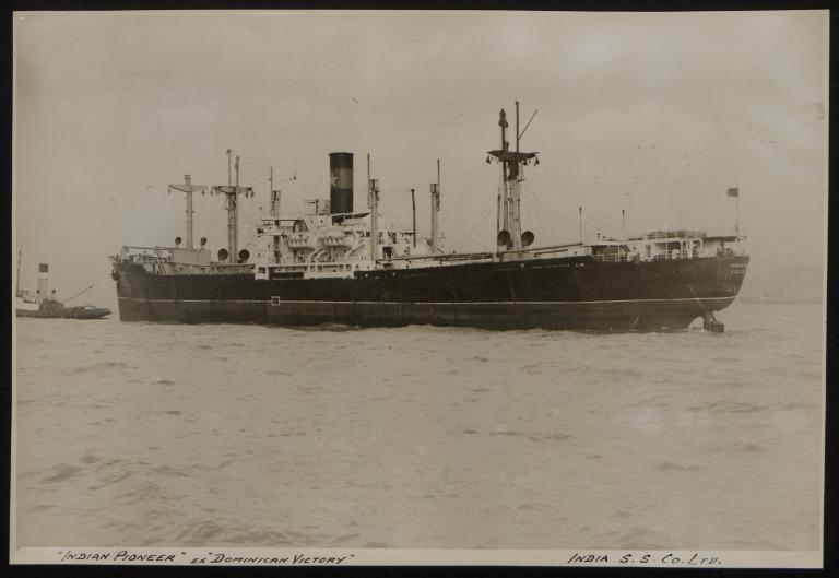 Photograph of Indian Pioneer (ex Dominican Victory), India Steamship Company card