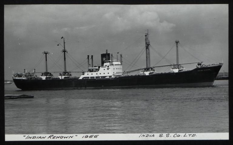 Photograph of Indian Renown, India Steamship Company card