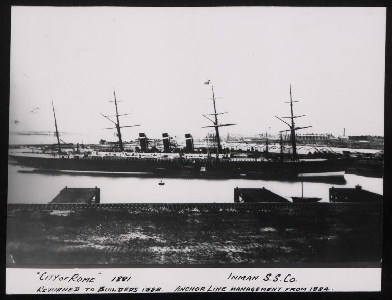 Photograph of City of Rome, Inman Line card