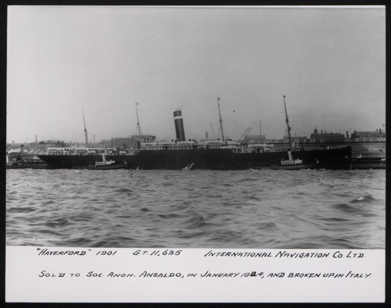 Photograph of Haverford, Red Star Line (International Navigation Company) card