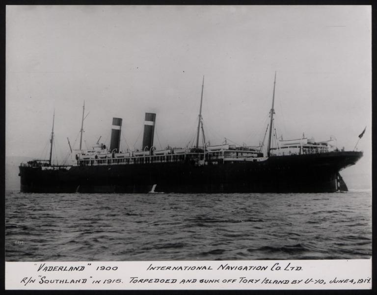 Photograph of Vaderland, Red Star Line (International Navigation Company) card