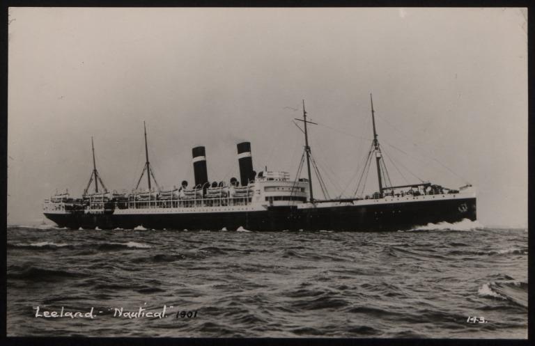 Photograph of Zeeland, Red Star Line (International Navigation Company) card