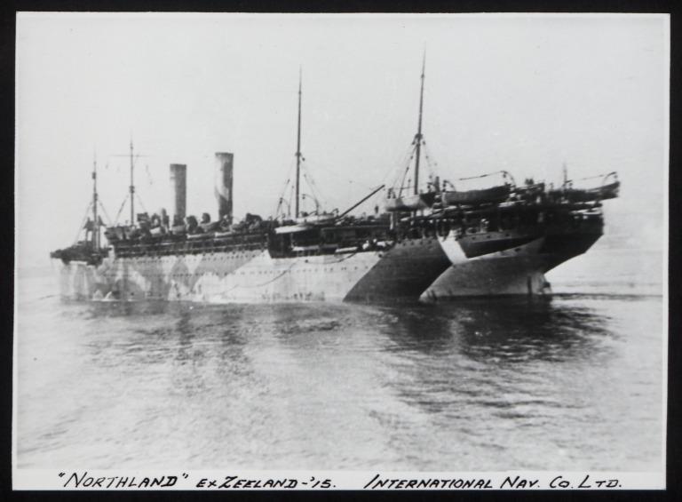 Photograph of Northland (ex Zeeland), Red Star Line (International Navigation Company) card