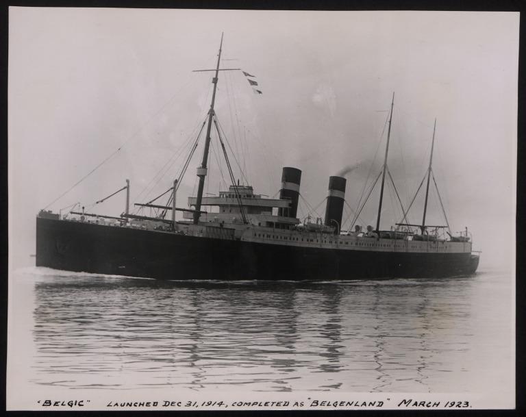 Photograph of Belgic (r/n Belgenland), Red Star Line (International Navigation Company) card