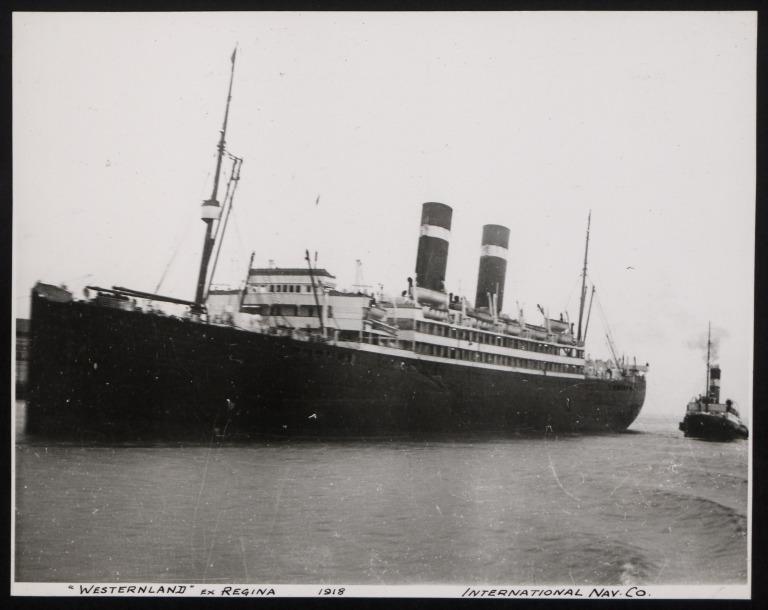 Photograph of Westernland (ex Regina), Red Star Line (International Navigation Company) card